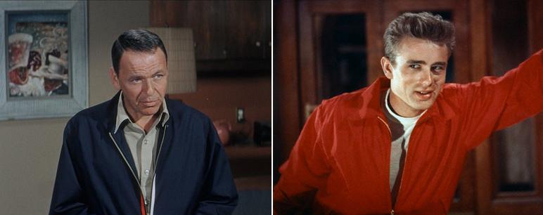 Actores James Dean y Frank Sinatra